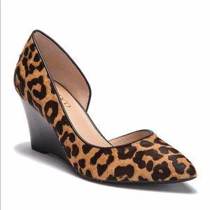 Franco Sarto Felice 2 leopard Dorsay wedge pump